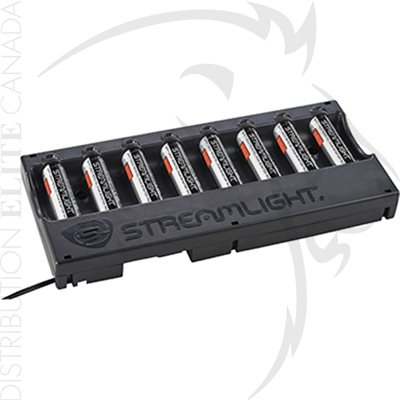 STREAMLIGHT 8-UNIT 18650 BATTERY CHARGER W / BATTERIES- 12V DC