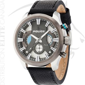 FIORI POLICE WATCH - CYCLONE BLACK LEATHER W / GRAY DIAL