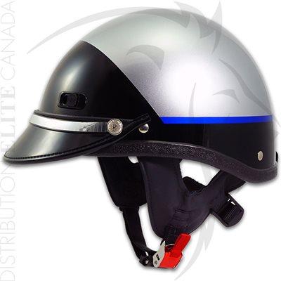 SUPER SEER S2108 MOTOR HELMET - SILVER & CARBON FIBER / BLUE