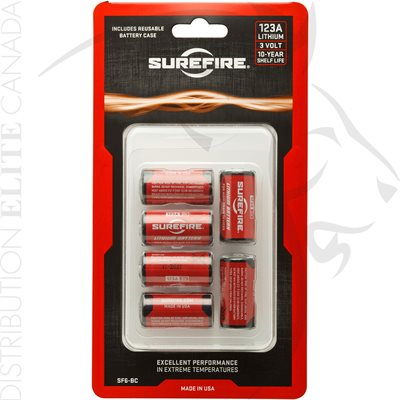 SUREFIRE (6) SF123A BATTERIES W / HOLDER IN CLAMSHELL PACKAGE